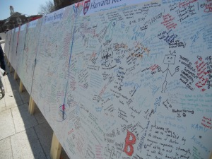 "Harvard's ""Boston Strong"" message board"