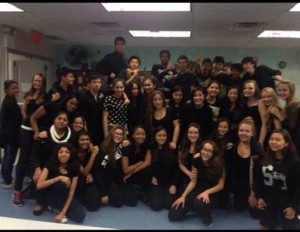 Sophomores pose in the cafeteria on Wednesday wearing black, the assigned color for seniors.