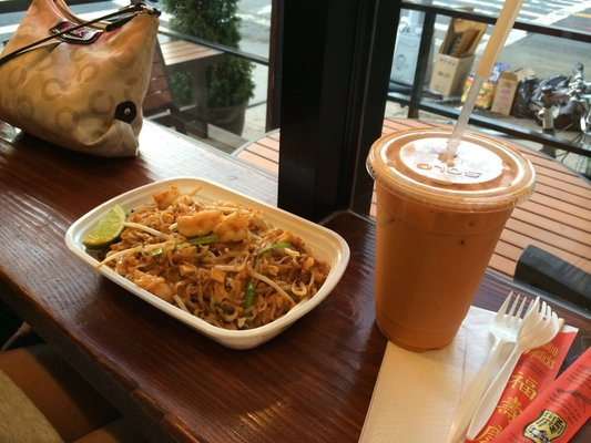 Photo Credit: Mindy T. from Yelp.com | Pictured here are Thai Iced Tea & Shrimp Pad Thai