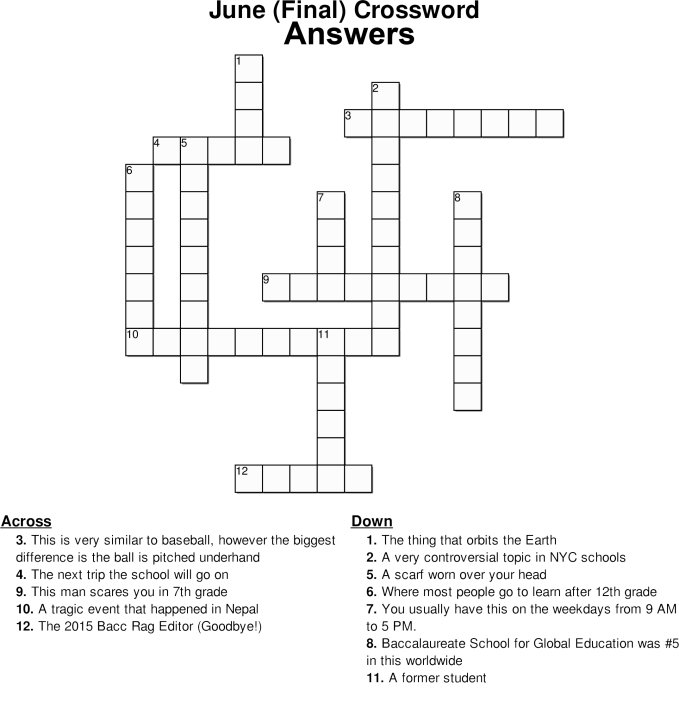 June (Final) Crossword Answers